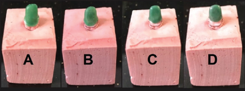Figure 3: Wax patterns from Groups A, B, C, and D on stone dies